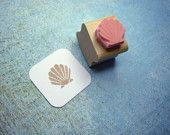 Mini Clam Shell Hand Carved Rubber Stamp