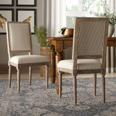 Striped Dining Chairs, Farmhouse Dining Chairs, Solid Wood Dining Chairs, Upholstered Dining Chairs, Dining Chair Set, Dining Room Furniture, Dining Room Table, Kitchen Chairs, Dining Rooms