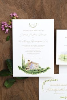 Classic custom wedding invitation for a destination wedding in Florence, Italy. Featuring hand-painted watercolors, olive branches, and traditional gold lettering.