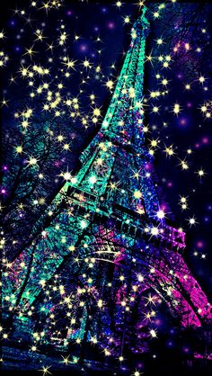 Eiffel Tower sparkle galaxy wallpaper I created for the app CocoPPa!