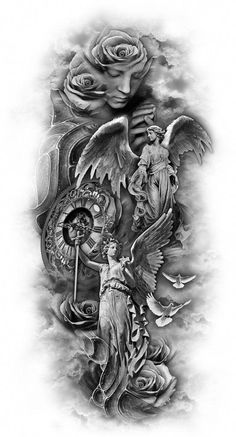 Distinctive and Artistic Gallery Customized tattoo designs The Effective Pictures We Offer You About music Tattoos A quality picture can tell you many things. Angel Sleeve Tattoo, Tattoo Sleeve Filler, Best Sleeve Tattoos, Angel Tattoo Men, Angels Tattoo, Full Sleeve Tattoo Design, Tattoo Sleeves, Arm Tattoos For Guys, Trendy Tattoos