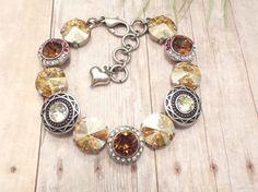 JUNGLE LOVE, swarovski bracelet, 12mm, decorated, antique silver, adjustable, brown, tan, red, dksjewelrydesigns