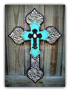 Wall Wood Cross - Small - Zebra and Antiqued Turquoise Mosaic Crosses, Wooden Crosses, Wall Crosses, Zebra Decor, Cross Door Hangers, Nail Room, Cross Art, Cute N Country, Ball Lights