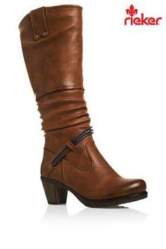 568138551823 Rieker® Tall Tan Heel Boots Tan Heeled Boots, Heel Boots, Pumps Heels,