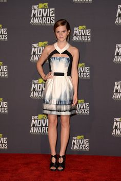 Emma Watson worked a cutout minidress with Proenza Schouler booties at the MTV Movie Awards 2013
