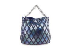 Chanel Blue Metallic Python Soft and Chain Crochet Hobo Shoulder Bag