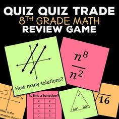 Review 8th grade Common Core math standards with a fun game of Quiz Quiz Trade!In this download, you will receive 36 cards for the game with answers to print on the back. General instructions for set up are included.   Never played Quiz Quiz Trade?Quiz Quiz Trade is a game you can play with many topics and is great for review.