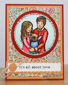"""BRAND NEW on the UNITY Website!!  This adorable collector's stamp kit is from Illustrator Phyllis Harris. This kit contains 4 stamps.  She is an artist for the popular HIGHLIGHTS magazine for children as well as stamp illustrator for Unity Stamp Company.  She has SEVERAL releases with Unity – and you simply can click HERE.  Family in the circle measures approximately 3.75"""" x 3.75"""".  """"family...made with love"""" sentiment measures approximately .75"""" x 3.75"""".  """"it's all about love"""" sentiment…"""