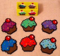 Project for tomorrow night, must make! Cupcake Coaster set perler beads by MeltyCreations Melty Bead Patterns, Pearler Bead Patterns, Perler Patterns, Beading Patterns, Plastic Canvas Coasters, Plastic Canvas Patterns, Art Perle, Nerd Crafts, Peler Beads
