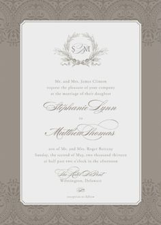 Classical wedding invitation from Minted. #cocoashell #girlywedding #weddinginvitation