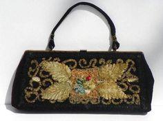 Beaded Black Purse 1950s Handbag Hand Decorated by Caron Houston Texas