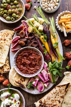 Moroccan Dip Platter: Quick, easy, colorful, loaded with veggies, fruits, and even a little goat cheese too. It's basically the Moroccan...ish version of a cheese board and I could not love it more! @halfbaked harvest.com