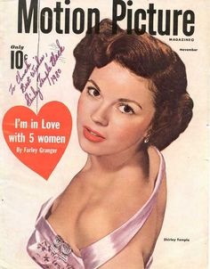 SHIRLEY TEMPLE: Sexy Color MOTION PICTURE Magazine Cover Circa 1950 Autographed