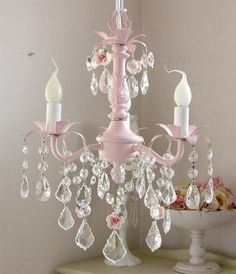 Pink chandelier - I can't wait to put this in my next baby room!