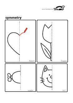 symmetry worksheets for kids Homeschool Kindergarten, Preschool Learning Activities, Preschool Printables, Preschool Activities, Symmetry Worksheets, Symmetry Activities, Drawing Activities, School Worksheets, Worksheets For Kids