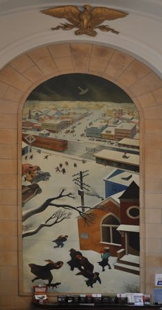 """Suburban Post in Winter"""", mural by William Gropper in the post office, Freeport, Long Island, New York."""