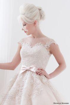 house of mooshki spring 2015 poppy blush pink tea length illusion cap sleeves short wedding dress bodice