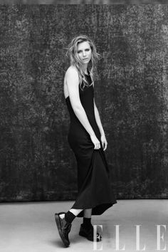 Brit Marling in a Calvin Klein Collection dress and Dr. Martens