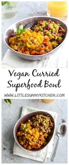 A vegan curried superfood bowl made with zesty bean quinoa, onions, potatoes, mixed bell peppers and peas. It's easy, flavourful and delicious!