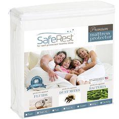 Amazon.com - King Size SafeRest Premium Hypoallergenic Waterproof Mattress Protector - Vinyl Free - Mattress Pads
