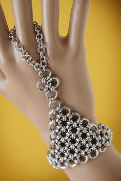 Chainmaille   hand flower  slave bracelet  by SpitfireMaille, $39.00