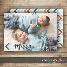 Boho tribal inspired Christmas Card | Holiday Card | Merry Everything by Oodles and Doodles, OandD