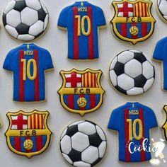 Messi Birthday, Soccer Birthday Cakes, Soccer Cake, Soccer Theme, 6th Birthday Parties, Birthday Cookies, Dad Birthday, Barcelona Soccer Party, Barcelona Cake