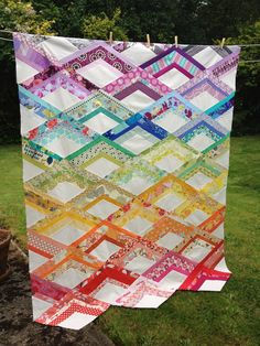 colorful quilt that looks like mountain peaks