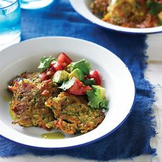 Zucchini and Bacon Fritters with Tomato and Avocado Salsa by Luke Hines - The Paleo Way by Pete Evans
