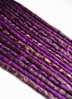 Sale 8 DE Glitter Accent Wool Dreads Extensions Purple. £12.00, via Etsy.