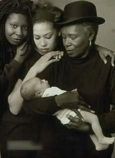 Whoopi Goldberg, her mother Emma Johnson, her daughter Alexandrea Martin, and Alexandrea's child.