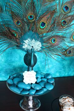 Peacock Thanksgiving centerpiece by BellaGrey Designs
