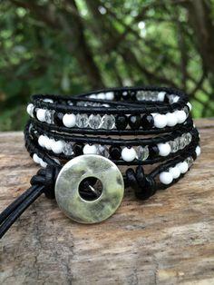 Beaded Leather Wrap Bracelet. Black White by SilveryBeachDesigns, $39.00