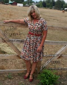 DIY Summer Dress Refashion Tutorial; long dress with to short dress with new waist