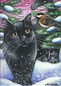 Black Cat & Chickadee Winter Xmas Painting