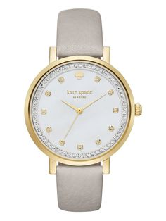 showcasing a beautiful clocktower grey leather strap against a luminous mother-of-pearl dial with crystal indexes and topring, this timeless kate spade new york watch will turn even the most everyday moments into extraordinary ones.