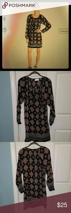 Crinkle Peasant Tunic Dress Worn once..EUC - Fabric is 100% Viscose, slit V-neck with tassel tie closure, long sleeved printed dress. RD Style   Dresses Long Sleeve
