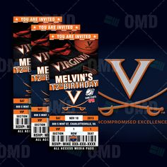 Virginia Cavaliers Sports Party Invitation Sports by sportsinvites