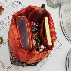 2 Pencil, Dice Bag, Red Dragon, Sticky Notes, Metal Beads, Pockets, Sleeves, Fabric, Bags