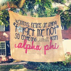 "Women's Hearts Are Saying ""Forget Me Not"" Alpha Phi Sorority, Alpha Phi Omega, Sorority Banner, Phi Sigma Sigma, Gamma Phi Beta, Phi Mu, Sorority Life, Sorority Shirts, Theta"