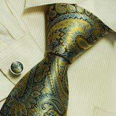 Gold Florals designer mens ties bronze pattern holiday gifts fashion silk necktie set A2079