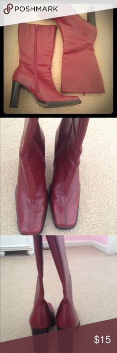 NINE WEST BOOTS Beautiful Nine West boots, wear it with you best jeans, dress, skirts or shorts. Pretty burgundy color. Heels around 3 inches high. Calf around 14 inches around. Nine West Shoes Heeled Boots