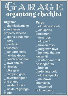 Easy garage organization ideas and a free printable to help you purge and organize your garage! What to get rid of and how to store what is left so you can fit your cars again! AD via @thetypicalmom