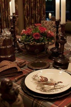 Johnson Brothers,  Game Bird Pheasants. A traditional  Scottish holiday table setting.