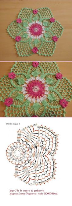 #_WATERMELON Crochet Placemat with Flowers and chart.