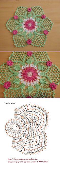 Colorful Crochet Doily with Flowers Mehr Crochet Mandala Pattern, Crochet Diagram, Crochet Stitches Patterns, Doily Patterns, Crochet Chart, Crochet Squares, Thread Crochet, Filet Crochet, Irish Crochet