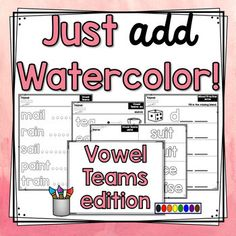 Just Add Watercolor! {Vowel Teams} offers students the chance to practice vowel teams, as well as much needed practice with fine motor skills in a fun and engaging way!