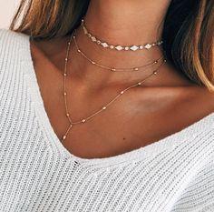 jewerly / gold / necklace / doré / or / chocker / collier / bijoux / summer vibes Cute Jewelry, Boho Jewelry, Jewelry Box, Jewelery, Jewelry Accessories, Fashion Accessories, Cheap Jewelry, Silver Jewelry, Prom Jewelry