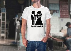 Tricou Personalizat Casatorie Game Over Pune, Mens Tops, T Shirt, Fashion, Supreme T Shirt, Moda, Tee Shirt, Fashion Styles, Fashion Illustrations