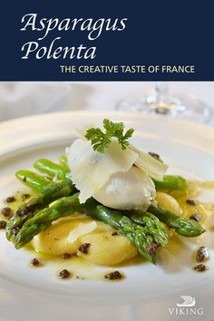 Tempt your taste buds with our asparagus and polenta, topped in truffle dressing. Famously abundant in France, only a hint of truffle is needed to complement this hearty and flavorful dish. #vikingcruises #vikingrecipes #maincourse #asparagus #polenta #truffledressing #frenchrecipes Polenta, Asparagus, Vikings, Creative, The Vikings, Viking Warrior